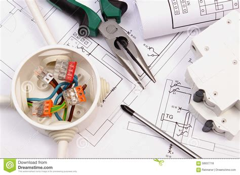 Tool Engineer by Work Tools Electrical Box And Fuse Electrical Construction Drawing Stock Photo Image 58937718