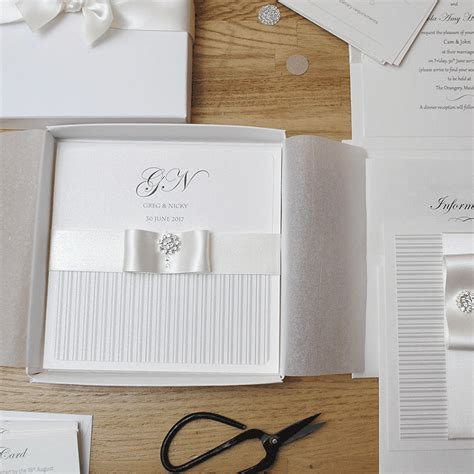 Handmade Invitations Uk - personalised folded wedding invitations uk ribbon