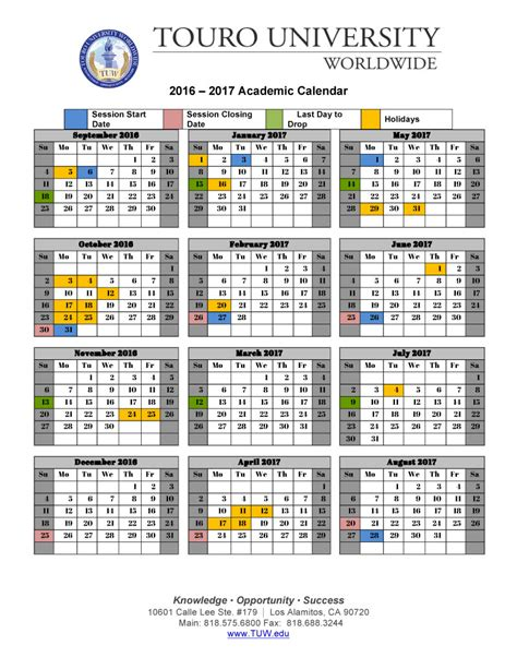 Tuition Touro College Mba by Academic Calendar Touro Worldwide