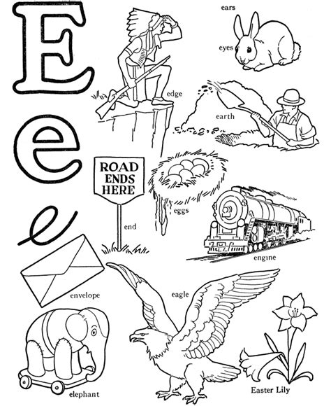 color that begins with e letter e coloring pages az coloring pages