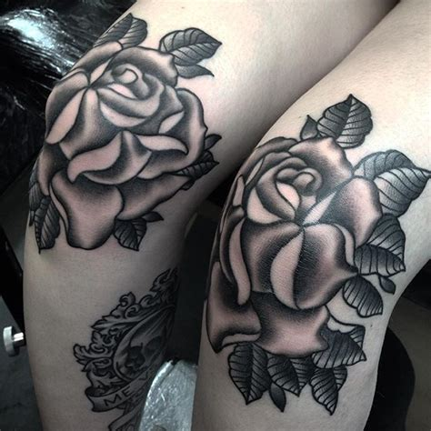 tattoo behind knee healing cool set of matching roses to cover reeses wee knees