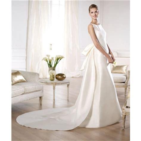 a line bateau neckline low v back satin wedding dress with