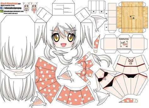 Chibi Anime Papercraft - black hanekawa joey s chibi 021 by eljoeydesigns