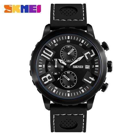 Jam Tangan Pria Black skmei jam tangan analog pria 9153cl black white
