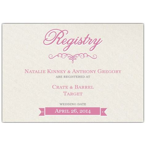 Gift Card Registry For Wedding - pretty bride bridal registry cards paperstyle