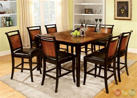 Counter Height Dining Table Set Salida Iii Acacia And Black Counter Height Dining Set With Padded Leatherette Seat Cm3034pt
