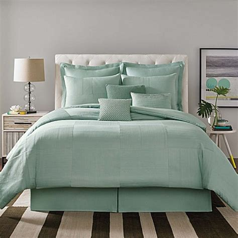 real simple 174 linear patchwork comforter set in aqua bed