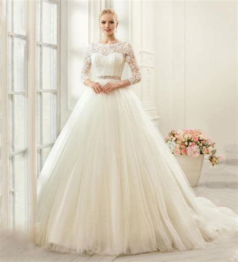 Renda Top By Princess princess 2016 wedding dresses scoop tulle sheer 3 4