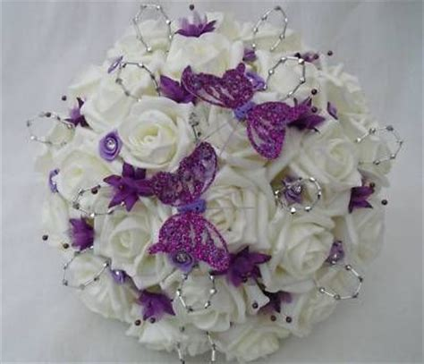 Wedding Bokay by Silver And Purple Wedding Bouquets Our Wedding Wish List