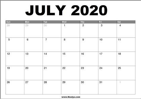 july  calendar printable   noolyocom