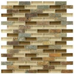 Home Depot Backsplash Kitchen Merola Tile Tessera Subway Brixton 11 3 4 In X 12 In X 8 Mm And Glass Mosaic Wall Tile