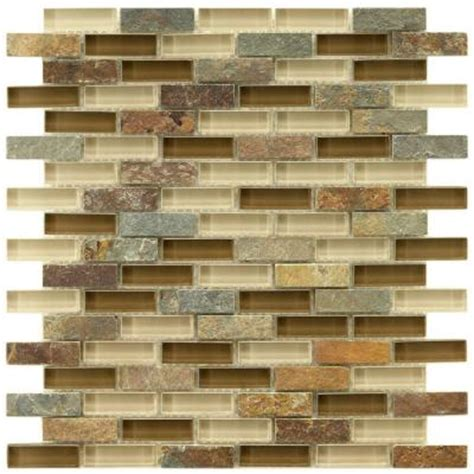 home depot kitchen tile backsplash merola tile tessera subway brixton 11 3 4 in x 12 in x 8 mm and glass mosaic wall tile