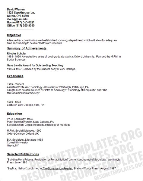 Academic Resume Exles by Academic Curriculum Vitae Template 28 Images Academic