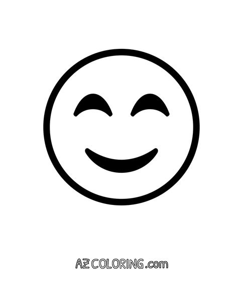 printable emoji eyes smiling face with smiling eyes emoji coloring page