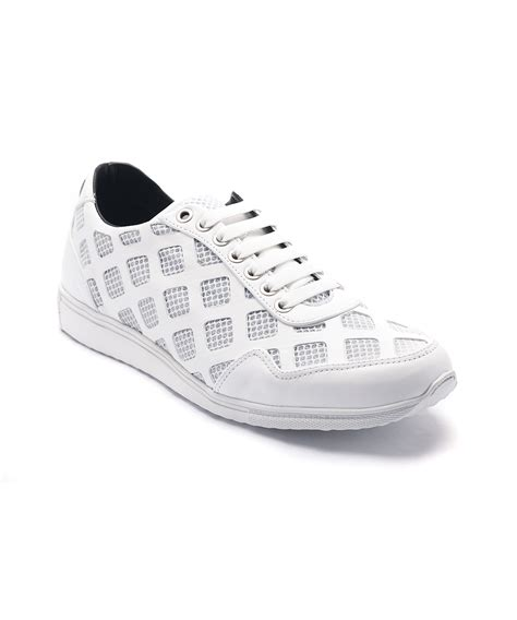 versace sneakers for versace laser cut leather mesh sneakers in white for