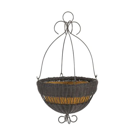 Home Depot Hanging Planters by Dmc 16 In Black Resin Wicker Hanging Planter 78320 The