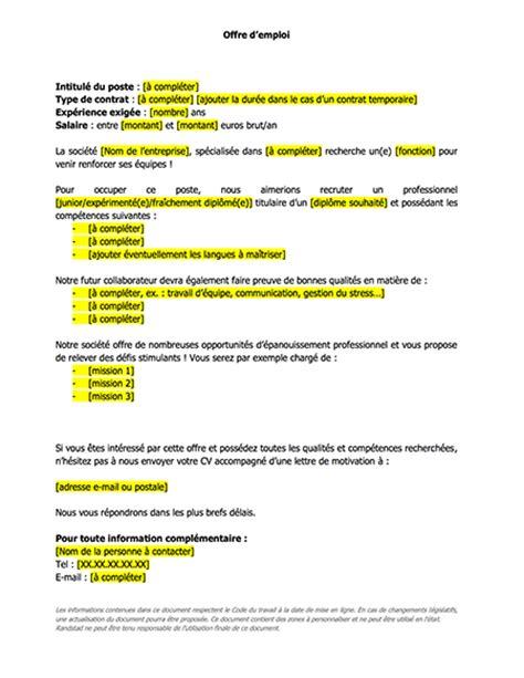 Exemple Lettre Demande D Emploi Chauffeur Mod 232 Le De Lettres Annonce D Offre D Emploi Le Mag Rh Le Mag Rh