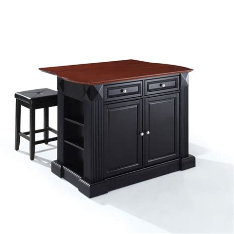 crosley furniture hardwood drop leaf breakfast bar kitchen drop leaf breakfast bar top kitchen island in black finish
