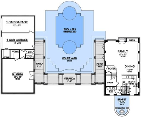 Two Story Courtyard House Plan 6382hd Architectural 2 Story Studio Courtyard 36329tx Architectural