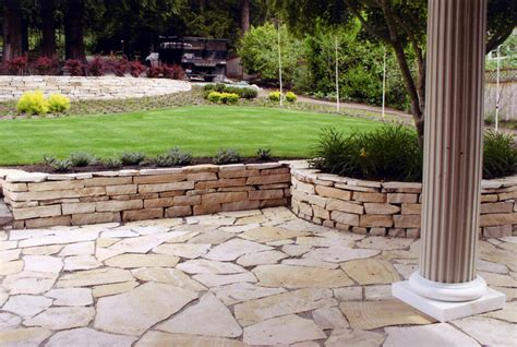 patio ideas flagstone patio retaining wall
