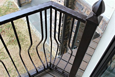 metal deck railing installed wrought iron balusters