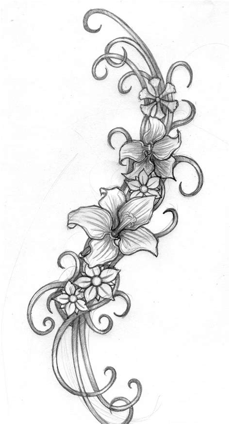 swirly tattoo designs flower and swirl designs