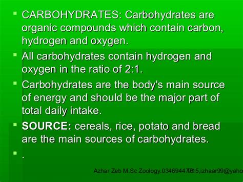 carbohydrates zoology nutrition