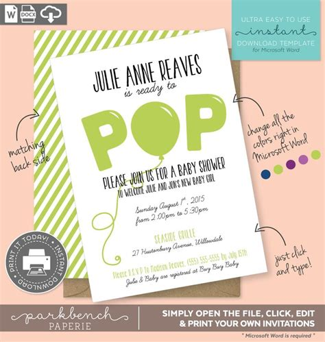 Baby Shower Invitation Printable Template For Microsoft Word Julie Anne Style Green Lime Baby Shower Text Template