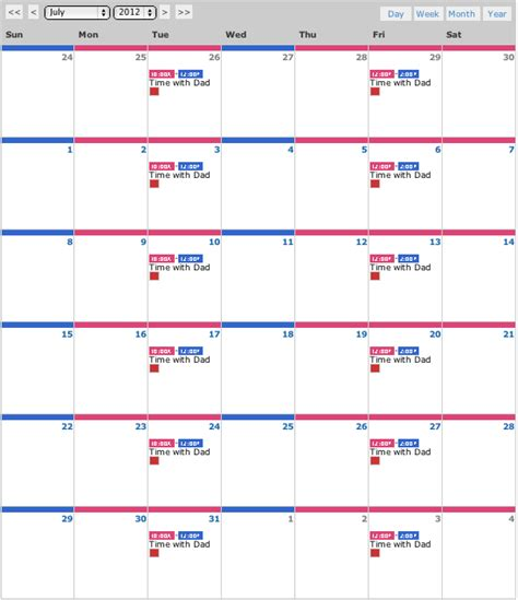 visitation calendar template parenting plan exles a plan that fits your needs our