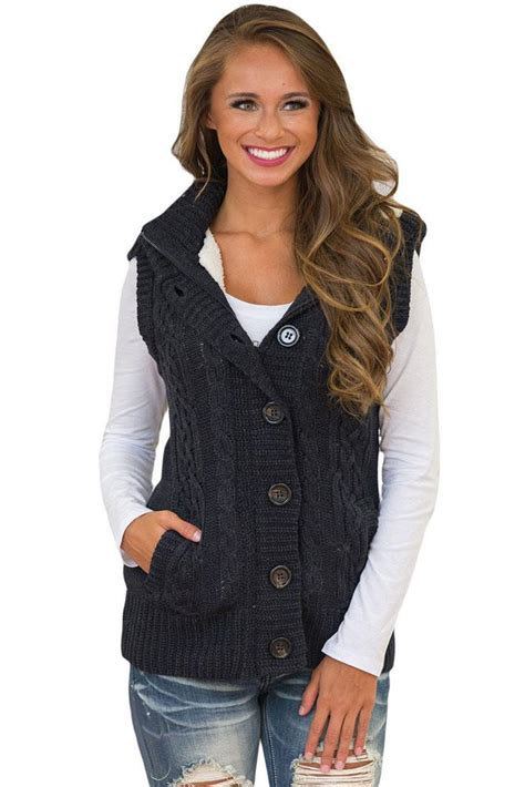 knitting pattern womens sweater vest women black cable knit hooded sweater vest mb27665 2