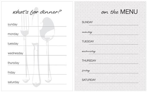 menu printable template gallery weekly dinner menu template