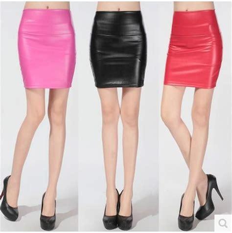 2015 fashion pu faux leather skirt high waist