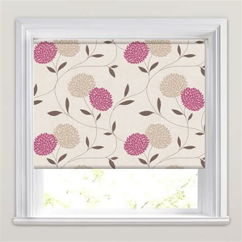 large patterned roller blinds fuchsia taupe cream large flower heads patterned roller