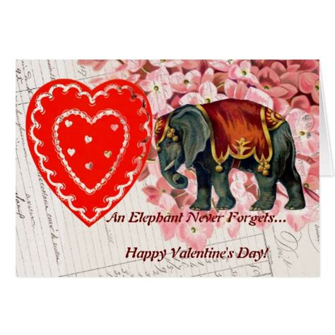 happy valentines day vintage vintage elephant happy s day card zazzle