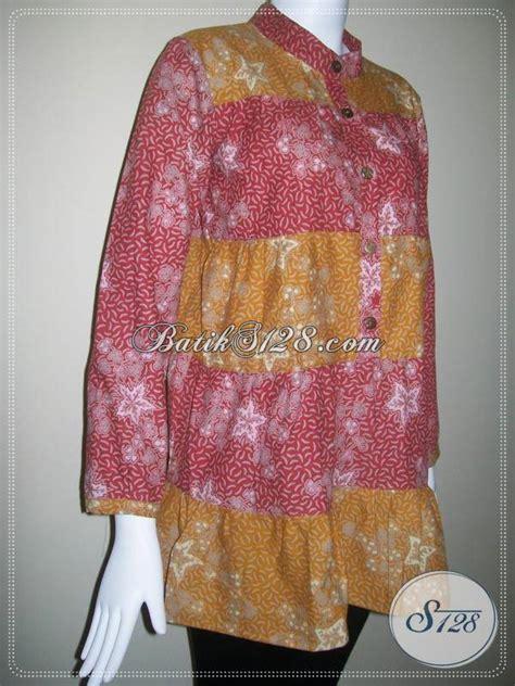 Kaos Katun Army Look model blouse batik modis collar blouses
