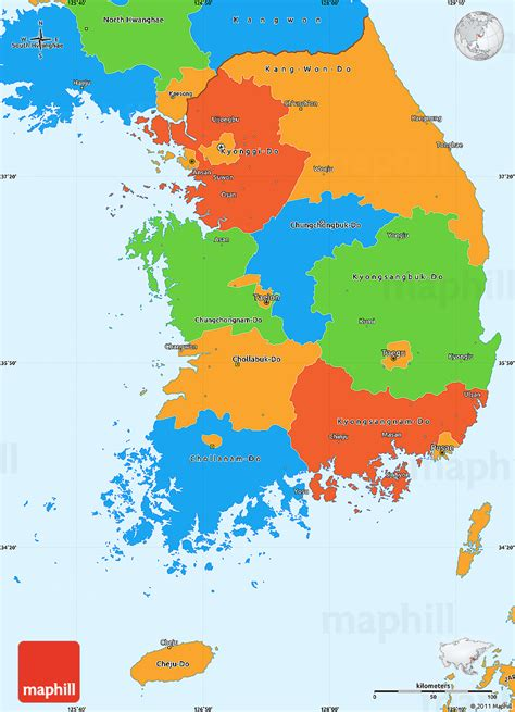 where is south korea on the map political simple map of south korea