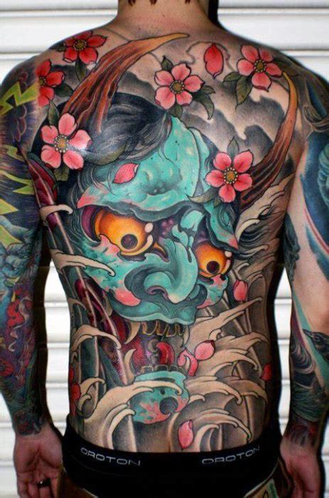 hannya mask tattoo back piece 50 japanese demon tattoo designs for men oni ink ideas