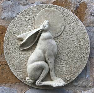 Garden wall plaques animal wall plaques hare wall plaque lunar