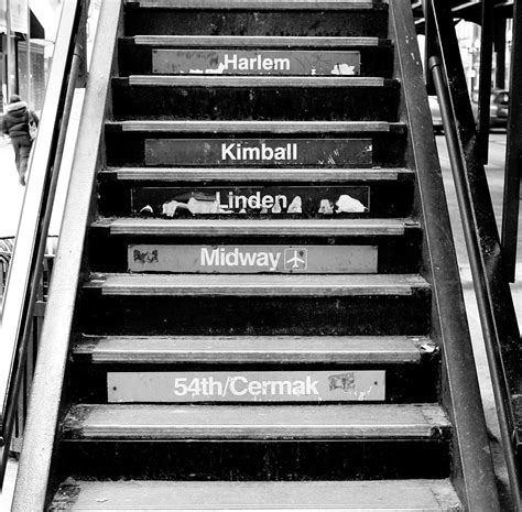 black and white l black and white chicago l stairs photograph by anthony doudt