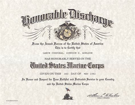 honorable discharge certificate template usmc honorable discharge