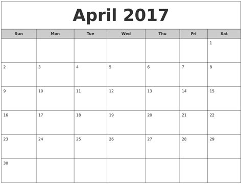Calendar Monthly 2017 April 2017 Free Monthly Calendar