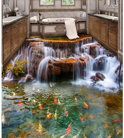 bedroom waterfalls custom photo 3d flooring bedroom waterproof pvc floor sticker waterfall carp decoration