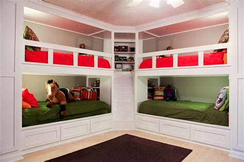 4 bunk beds in a room built in bunk beds from prairie hive magazine bright cheery room with maximized space