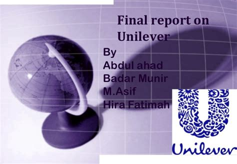 Mba Ncba by Report On Unilever For Mba From Ncba Eians