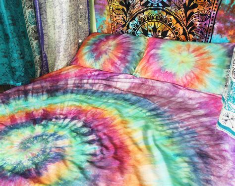 hippie bedding tie dye duvet set hippie bedding rainbow by drawfortoffee