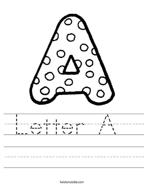 printable alphabet letters one per page letter a worksheet twisty noodle
