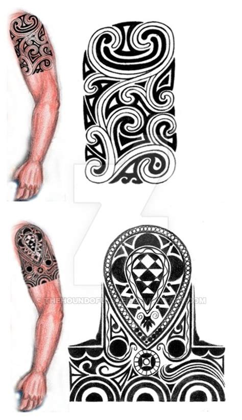tribal shoulder arm tattoo design by thehoundofulster on