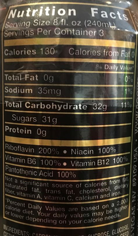 energy drink facts rockstar energy drink nutrition facts label