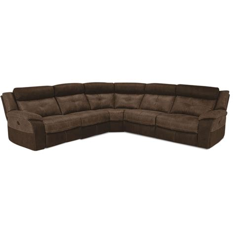 reclining sectionals denver brown microfiber 5 piece power reclining sectional