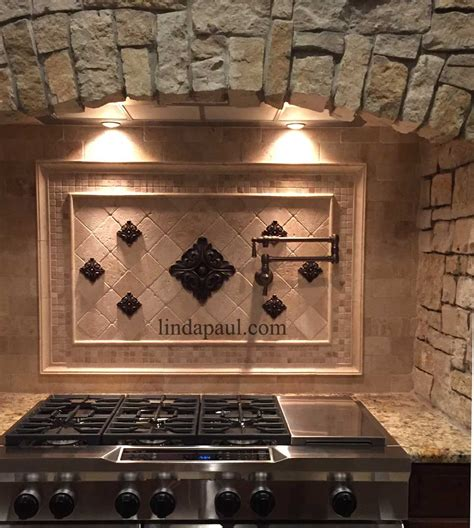 metal backsplash tiles for kitchens metal flower accent tiles for kitchen backsplashes
